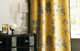 Etchings And Roses Empire Yellow Curtain