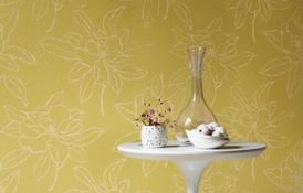Magnolia Embroidery Linen Green Wallpaper