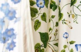 Moon Flower Ivory Green Curtain Detail