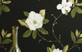 Sweet Bay Ebony Ivory Wallpaper